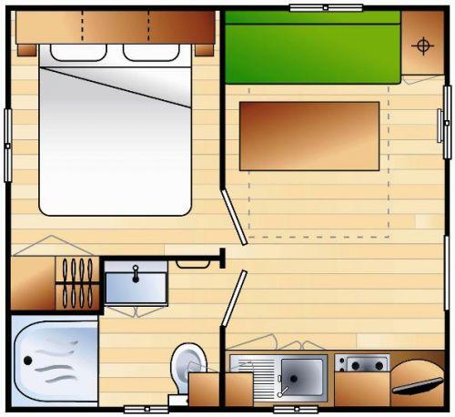 mobil home 1 chambre 2 3pers 16m relais de l 39 oc an. Black Bedroom Furniture Sets. Home Design Ideas