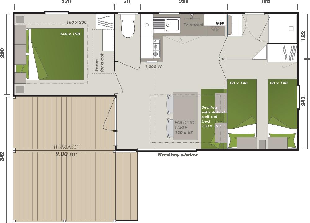 Mobil-home 2 ch. ( 28m²) - Plan